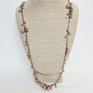 J. Crew Pink Beaded Long Layering Necklace
